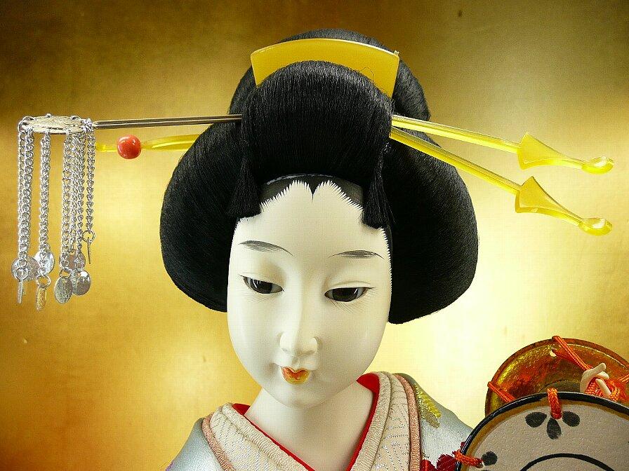 昭和美人日本人形鼓を打つ日本髪に和服鼈甲风簪名古屋スミレ人形