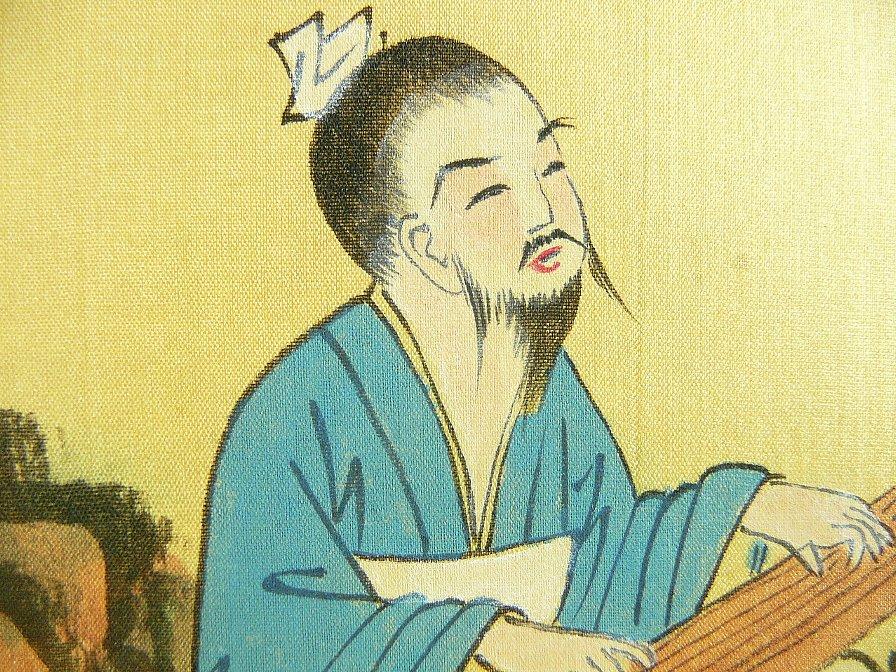 中国汉诗挂轴■作者不详■竹里馆■王维■独坐幽篁裏弾琴复长啸图片